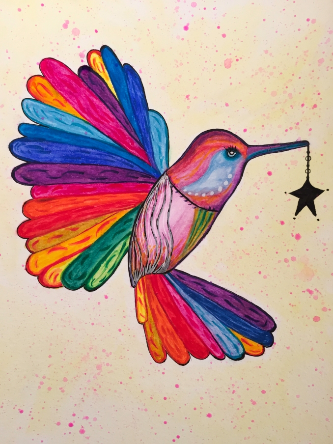 Hummingbird mixed media